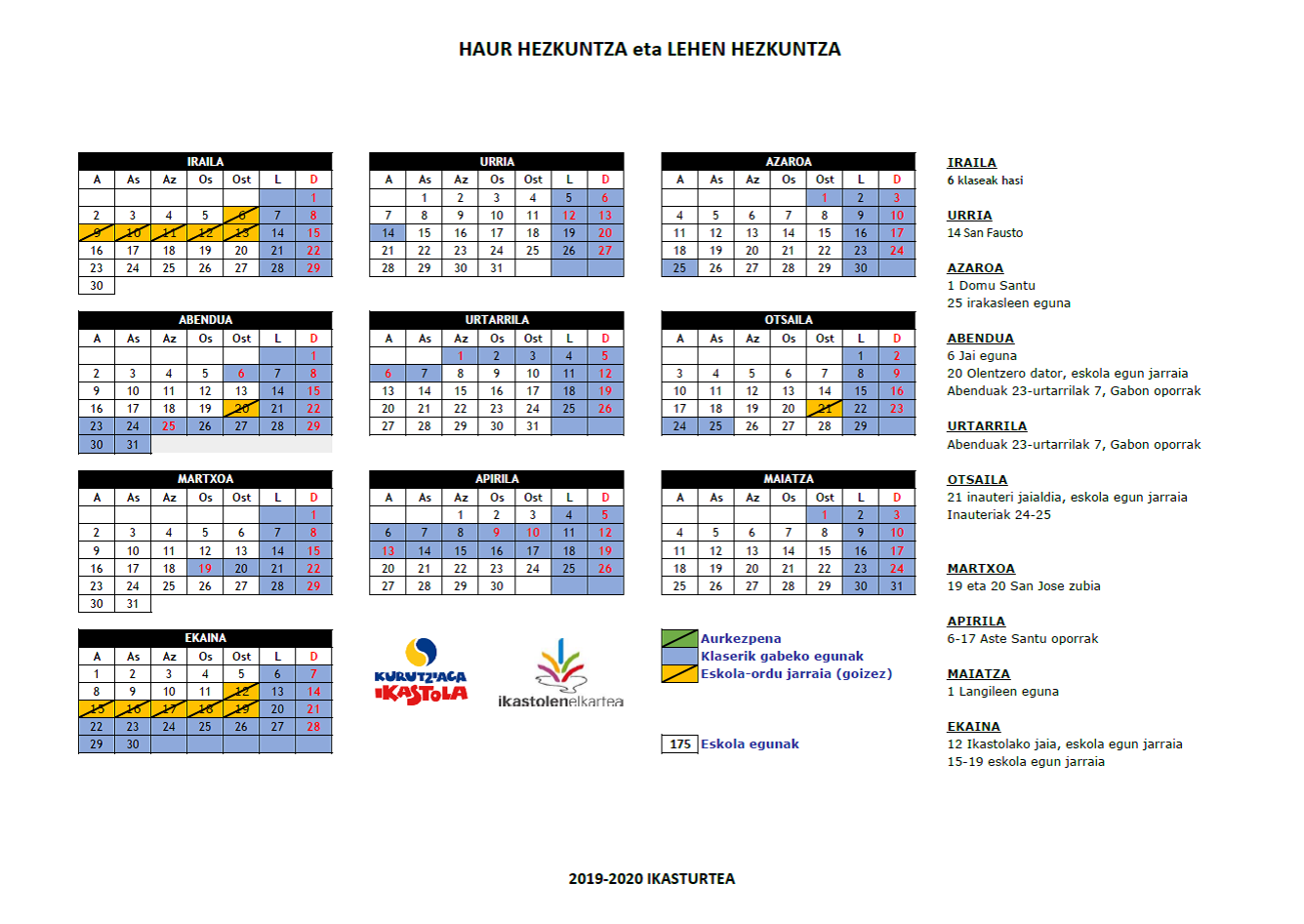 Calendario 2020 Bizkaia.Ei Y Ep Calendario Curso 2019 2020 Kurutziaga Ikastola